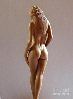 Wood Sculpture Of Naked Woman - Rear View Sculpture  - Wood Sculpture Of Naked Woman - Rear View Fine Art Print