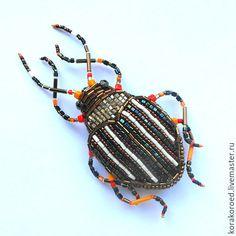 """Купить Брошь-жук """"Полосатик бархатный"""" - комбинированный, брошь, жук, брошь жук, авторская брошь"""