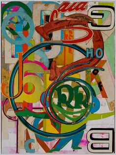 Lance Letscher,  The Right Letter  Collage on wood  16 x 12 inches  2011