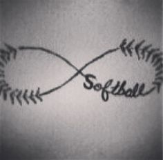 Softball L ❤ ve goes for infinity! Make great friends and even better memories through your love for through softball leagues! Softball Tattoos, Softball Team Pictures, Softball Room, Softball Workouts, Softball Uniforms, Softball Problems, Softball Drills, Softball Cheers, Fastpitch Softball