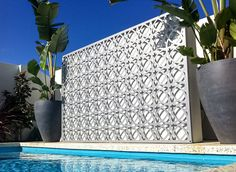 Laser cut panel-feature by swimming pool