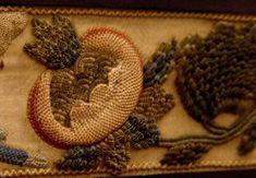England, 1662  Silk, metalic thread, sead pearls, wood, metal, raised embroidery