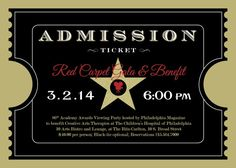 DIY Printable - Red Carpet Gala - Hollywood - Oscars/Academy Awards Viewing Party - Admission Ticket Invitation