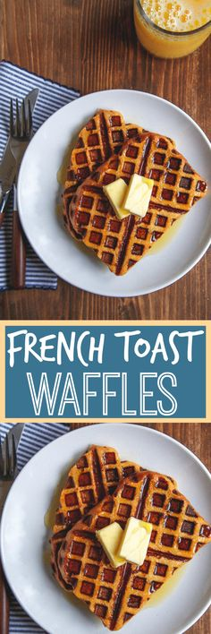 French toast waffles: just dip bread in french toast custard mixture, and place in waffle maker! So easy! Breakfast in bed or dessert for two--both apply!