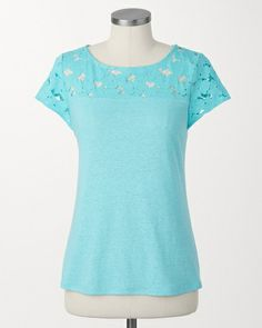 Yoke lace top | Coldwater Creek - lots of pretty colors