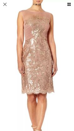 db474bb3 Stunning Ruched Mesh Bernshaw Champagne Pink Sequin Dress & Bolero Size 8  New #Ad ,