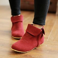 Women's+Spring+/+Fall+/+Winter+Round+Toe+/+Fashion+Boots+Dress+Flat+Heel+Zipper+Black+/+Green+/+Red+/+Beige+–+USD+$+21.24