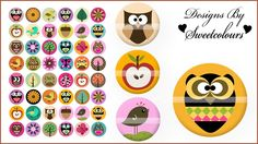 Jewelry - Cute Little Owls Digital Collage (087) - 1 Inch Circle