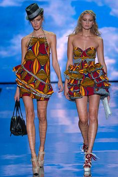 L.A.M.B. Spring 2011 tribal print dresses. For some reason I love the one on the right