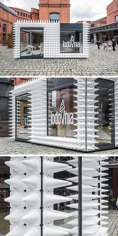 mode:lina architekci have designed LODOVNIA, a mobile ice cream shop in Poland that's covered in almost 1,000 white sports cones, representing the shape of an ice cream cone.