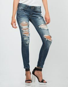 Faded Distressed Skinny Jeans - Blue Jeans - Womens Denim – Bottoms – 2020AVE