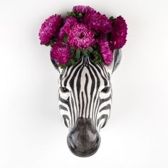 Zebra Wall Vase ($37) ❤ liked on Polyvore featuring home, home decor, vases, zebra home decor, zebra home accessories, ceramic wall pockets, ceramic jug and ceramic home decor