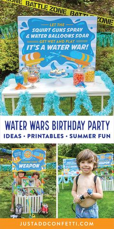 Let the squirt guns spray and water balloons soar! It's time to get wet and play, it's a water war! Prepare to get soaked and have a blast at this backyard Water Wars Birthday Party—complete with squirt guns, water sprayers, an adorable pack of party printables, and a fun towel party favor. This water war theme is so easy to pull together and perfect for a hot summer afternoon! Bring on the summer fun!