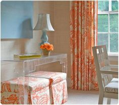 Orange & Turquoise grasscloth walls