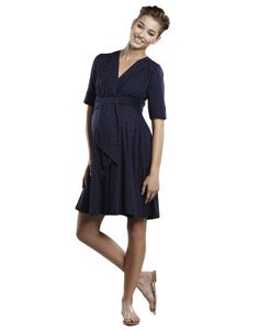 Maternal America Navy With Gold Dots Mini Front Tie Dress  #maternity #fashion #pregnancy #style #minefornine