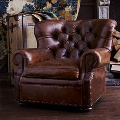 Ralph Lauren Home - like this chair styleRalph Lauren, Living Room, English Coun. - Ralph Lauren Home – like this chair styleRalph Lauren, Living Room, English Coun… – Ralph La - Ottoman Furniture, Leather Furniture, Chair And Ottoman, Living Room Furniture, Home Furniture, Leather Sofas, Furniture Design, Tufted Chair, Wing Chair