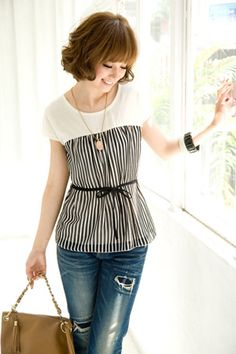 Interesting black and white striped blouse with waistband