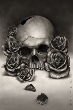Skull and Roses by *rodgerPISTER on deviantART  I just love skulls and flowers - perhaps it's my archaeology background!