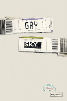 Expedia print campaign (using airport IATA codes) created by Jon Morgan and Mike Watson of Ogilvy
