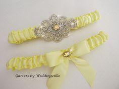 Yellow Wedding Garter Set/  Yellow Crystal Bridal by Weddingzilla