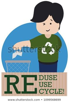 """Young man promoting good recycling habits, wearing a shirt with recycle arrows symbol during Recycling Day celebration and a sign with the three """"R"""" precepts: Reduce, Reuse and Recycle. Arrow Symbol, Reduce Reuse, Young Man, Arrows, Celebration, Recycling, Royalty Free Stock Photos, Sign, Day"""