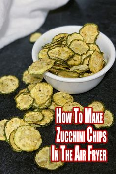 These zucchini chips are only 3 net grams of carbs per serving, a shelf-stable healthy chip and are also a Power Fryer Oven recipe on the dehydrator function. Zuchinni Chips, Dehydrated Zucchini Chips, Fried Zucchini Chips, Zucchini Tots, Air Frier Recipes, Air Fryer Oven Recipes, Healthy Chips, Healthy Zucchini Recipes, Recipe Zucchini