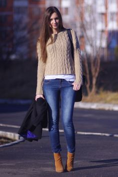 Pull & Bear jeans, Topshop sweater, ASOS boots.