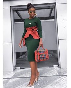 Image may contain: 1 person, standing and shoes Latest African Fashion Dresses, African Dresses For Women, African Print Dresses, African Print Fashion, African Attire, Classy Work Outfits, Classy Dress, Chic Outfits, African Traditional Dresses
