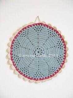 Bessie... crochet pot holder - soft blue grey