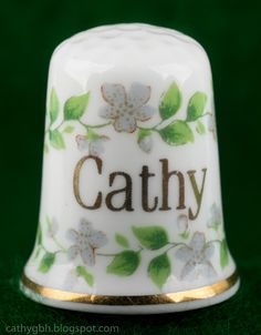 """Thimble - Bone China (British Made) """"Cathy"""". Things To Think About, Things To Come, Charity Shop, Thimble, Flower Basket, Yard Sale, Paper Weights, Dried Flowers, Bone China"""