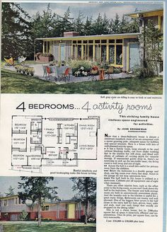 1959 Ladies Home Journal 4 bedroom, 4 activity rooms Vintage House Plans, Modern House Plans, House Floor Plans, Vintage Houses, Br House, Vintage Architecture, Drawing Architecture, Residential Architecture, Googie