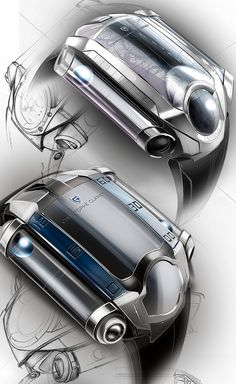 Sketch Drawing X-Trem watch by THIERRY FISCHER, via Behance, product sketching, drawing, industrial design - Id Design, Sketch Design, Tool Design, Design Process, Sport Design, Design Concepts, Graphic Design, Industrial Design Sketch, Behance