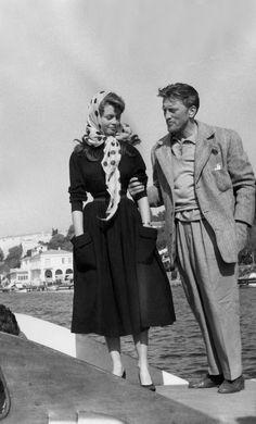 Kirk Douglas and Brigitte Bardot, Cannes, 1953