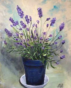 Lavender a printed from my original acrylic painting. by PaintingsbyAnna on Etsy Lavendar Painting, Painting Inspiration, Flower Art, Painting & Drawing, Watercolor Paintings, Canvas Art, Bouquet, Collage, Illustrations