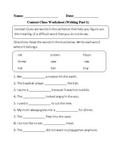 Context Clues Worksheet: Word Mystery | Context clues worksheets ...