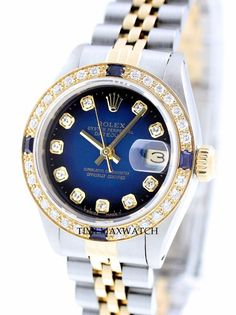 Rolex Women's Datejust SS & 18K Gold Blue Sapphire Diamond Automatic Watch in Jewelry & Watches, Watches, Wristwatches | eBay