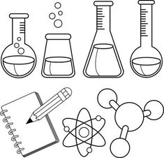 Science and chemistry set. Black and white coloring e-book web page royalty-free science and chemistry set black and white coloring e-book web page inventory vector artwork & extra photos of atom Vector Fisica Obtain Types Of Science, Science Week, Science Tools, Science Party, Preschool Science, Science For Kids, Science Worksheets, Science Ideas, Preschool Classroom