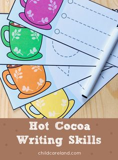 Hot cocoa writing skills includes shape tracers too! Early Learning Activities, Motor Skills Activities, Fine Motor Skills, Nursery Activities, Classroom Activities, Writing Skills, Winter Holidays, Hot Chocolate, Cocoa