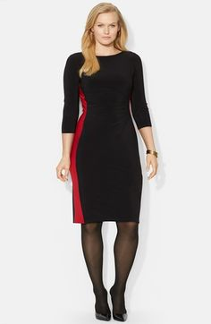 Lauren Ralph Lauren Colorblock Matte Jersey Dress (Plus Size) available at #Nordstrom $159