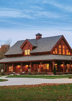 There's a reason barn-style homes have stood the test of time. There's a reason barn-style homes have stood the test of time. Barn Style House Plans, Pole Barn House Plans, Pole Barn Homes, Barn Home Plans, Barn Style Houses, Rustic Barn Homes, Rustic House Plans, Metal Building Homes, Building A House