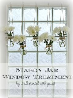 Ideas For Kitchen Window Treatments Diy Mason Jars Pot Mason Diy, Mason Jar Vases, Painted Mason Jars, Mason Jar Crafts, Diy Living Room Decor, Diy Home Decor, Unique Window Treatments, Diy Casa, Azul Tiffany