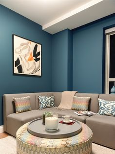 This cool blue's easy to live with in any style of house Living Room Orange, Blue Living Room Decor, Living Room Color Schemes, Elegant Living Room, Paint Colors For Living Room, Small Living Rooms, Living Room Designs, Wall Painting Living Room, Bedroom Wall Colors