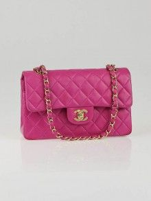 Chanel Fuchsia Quilted Lambskin Leather Small Classic Double Flap Bag (2002)