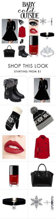 """""""Baby It's cold outside"""" by kitty-claws ❤ liked on Polyvore featuring Zara, Max Factor, WithChic, Jouer, Chanel, Givenchy, Allurez, Winter, Work and winterfashion"""