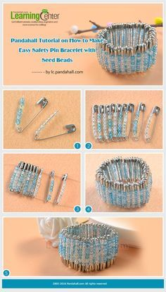 Have you got ideas on safety pin craft? If not, you can never miss today's Pandahall tutorial on how to make easy safety pin bracelet with seed beads! Large size safety pins, strong enough for using with heavyweight material like wool, leather, can Safety Pin Art, Safety Pin Crafts, Safety Pins, Kids Safety, Water Safety, Baby Safety, Safety Pin Bracelet, Safety Pin Jewelry, Jewelry Making Tutorials