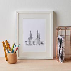 London Battersea Print, london print, gift for him, architecture, london wall art, home decor, london art, london skyline, london art, by JamesBarkerDraws on Etsy