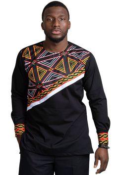 Bamenda toghu men african print shirt (black/ red /white) в African Shirts For Men, African Dresses Men, African Attire For Men, African Clothing For Men, African Wear, African Style, African Women, Nigerian Men Fashion, African Print Fashion