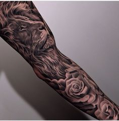 Lion sleeve tattoo