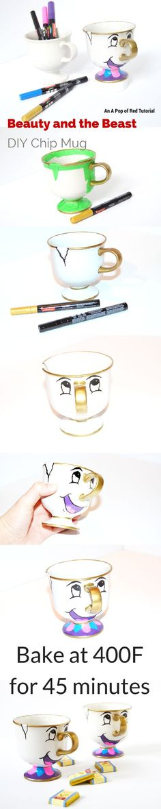 DIY Beauty and the Beast Mug | A Sharpie craft or oil-based paint pen project