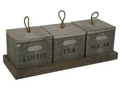 Set Of 3 Rustic Timber Tea Coffee Sugar Canisters Lifestyle Home Living